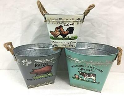 Set 3 Garden Planters Vintage Farm Animal Coloured Oval Metal Flower Pot Bucket