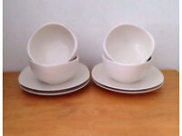 RAYWARE ~ 4 SIDE PLATES & 4 SOUP/CEREAL BOWLS IN BEIGE