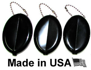 3 BLACK RUBBER SQUEEZE COIN HOLDER KEYCHAIN MONEY CHANGE PURSE OVAL DURABLE NEW