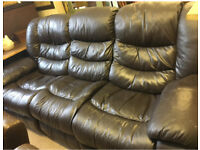 Black leather 3 Seater Reclining Sofa great condition