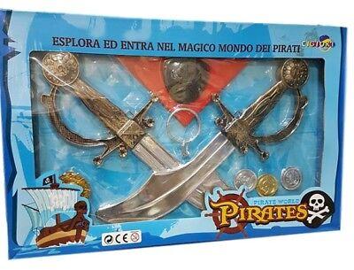 cc Pirati Set Accessori Pugnali Monete Bandana Gioco Giocattolo Bambini dfh