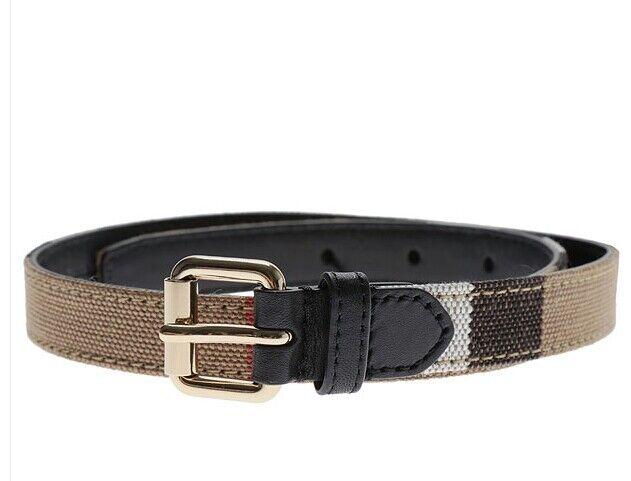 NWT NEW Burberry CA1 kids nova check belt brown or black leather 60cm or 70cm