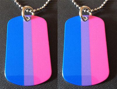 Rainbow Gay/ Lesbian Pride Bi sexual Flag 2-Sided Dog Tag Necklace / Keychain - Lesbian Pride Necklace