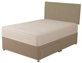 ** SOLD **Double Bed (4ft) - Divan plus Mattress with 2 storage drawers. As new.