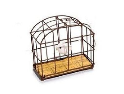 3.75 in Wire Bird Cage With Feathered Bird Home Decor Can Be Hung B317