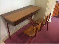 Large vintage French double school desk and chairs