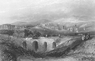 Jordan  Ancient Roman City Gerasa Jerash Temple Ruins   1836 Art Print Engraving