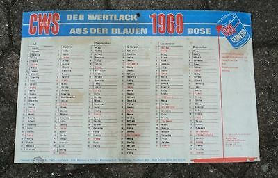 altes Pappschild Kalender 1969 Cewesol Lacke