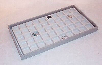 50 Compartment Earringjewelry Display Tray Gray Tray White Insert