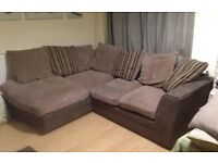 Brown and grey corner sofa+delivery available