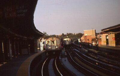 NYCTA slide. Pair of old R32 Brightliner subway trains. 111th St. Richmond Hill