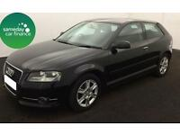 £174.25 PER MONTH BLACK 2010 AUDI A3 1.6 TDI SE 3 DOOR DIESEL MANUAL