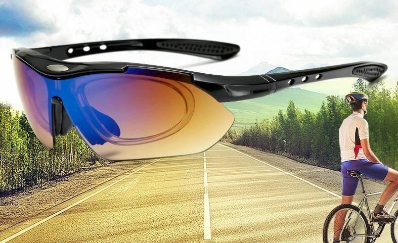 Fahrradbrille Sportbrille Polarisierte Sonnenbrille UV400 mit 5 Gläser+Case