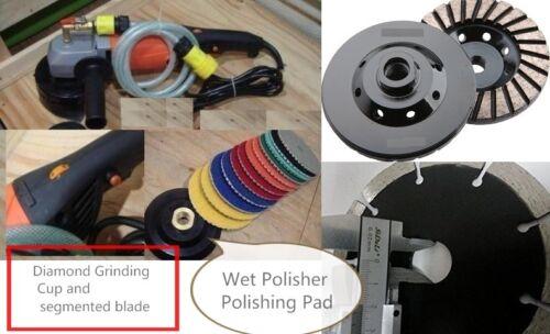 "5"" Wet Polisher granite concrete masonry polish pad cutting blade grinding cup"