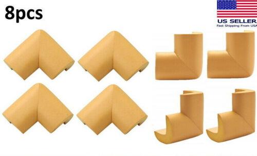 8pcs Wood Color - Child Baby Desk Table Corner Edge Protector Soft Foam Cushion