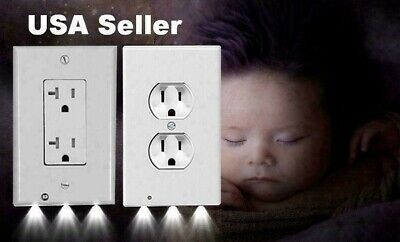 Duplex Decor 3 LED Wall Outlet Cover Plate Bathroom Bedroom Kids Night Light