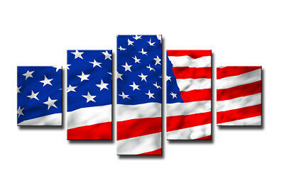 Bild 5 tlg USA Flagge auf Leinwand 160x80cm XXL Bilder Nr 5542>  Visario
