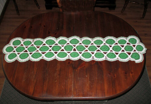 Vintage Handmade  Crochet Green and White Table Runner Dresser Scarf