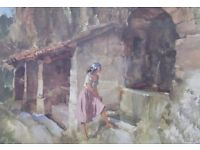 SIR WILLIAM RUSSELL FLINT - SIGNED PRINT - THE WISHING WELL (FRAMED)