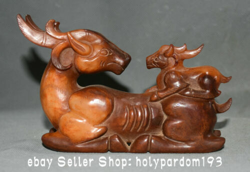 """5.6"""" Old Chinese Hongshan Culture Jade Carving Mother and son Deer Statue"""
