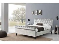 CRUSHED VELVET SLEIGH BED WITH HEADBOARD SINGLE DOUBLE KING 9 INCH AND 12 INCH WHITE MATTRESS