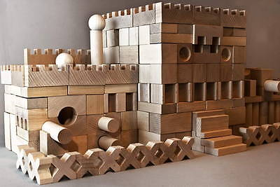 220 Stück XXL Holzbausteine Bauklötze Holzklötze Holzspielzeug aus Buchenholz