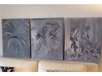 Abstract Wall Art; Flower Dreams An Original Canvas Set of 3 50 x 50cm Hand Painted Acrylic