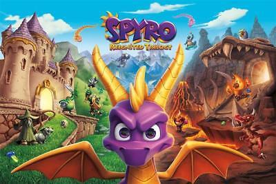 Spyro Reignited Trilogy Poster Video Game Art Silk Print 13X20  24X36  27X40