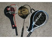 Tennis Racket and two Badminton Rackets