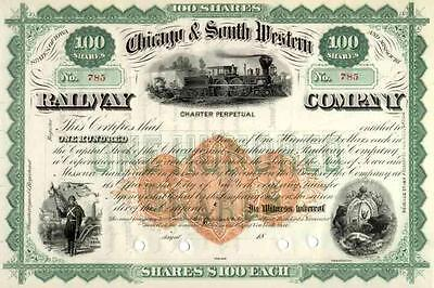 RN-U1 Imprinted Revenue on 18__ Chicago & South Western RR Stock Certificate