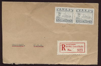 NAURU 1941 FREIGHTER 3d PAIR...REGISTERED COVER to USA