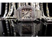 Cartier Santos Automatic iced AP Audemars Piguet Rolex patek Richard mille iced phillipe