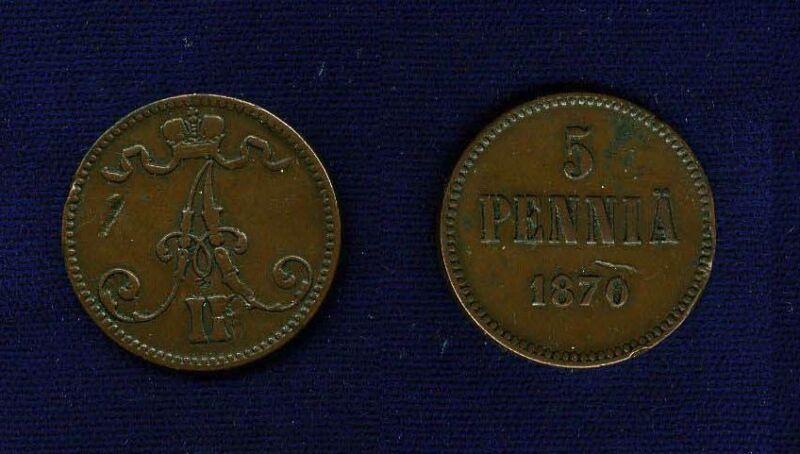 FINLAND (RUSSIA) ALEXANDER II  1870  5 PENNIA COIN   XF
