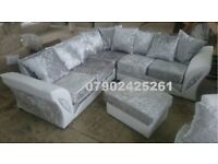 FREE FOOTSTOOL with new shannon corner sofa crushed velvet