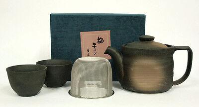 Teeset KUROBUKI hergestellt in Japan Teekanne 550 ml 2 Teeschalen Schwarz