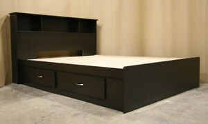 Queen Espresso Captains Bed Frame with Headboard