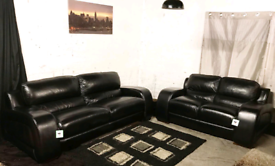 ** New ex display Dfs real leather black 4+2 seater sofas