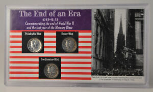 The End of an Era 1945 USA Mercury Dime Coin Set