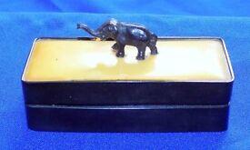 Antique Ebony & Ivory Coloured Celluloid Elephant Finial Trinket Snuff Box circa 1910,