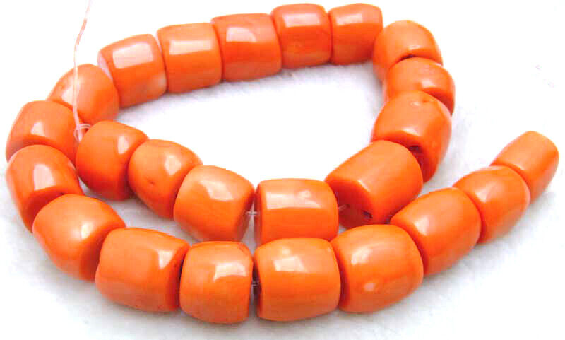 """15-20mm Column Natural Orange Coral Loose Beads for Jewelry Making Strands 15"""""""