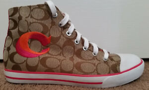 Women's Size 8 Coach Canvas High Top Sneakers