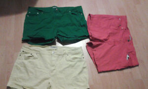 GREEN, YELLOW, AND RED JEAN SHORTS