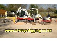 Micro & Mini Digger / Excavator For Hire With Experienced Operator / Driver,Narrow Access.