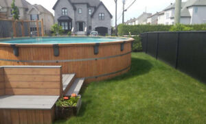 Piscine hors terre  en cèdre 20' / cedar wood above ground pool