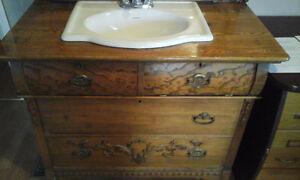 Antique bathroom sink with mirror