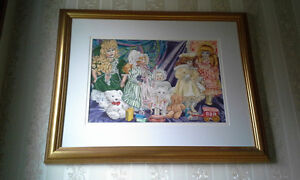 "28 1/2"" X 23"" WHIMSICAL PAINTING WITH FRAME"