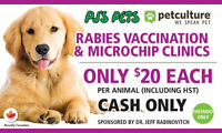 $20 Low Cost Rabies Vaccination & Microchip Clinics