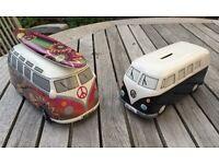 Two ceramic vw camper money boxes