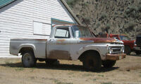 1962 Mercury 1/2 ton pickup truck Fleetside Short Box Custom Cab