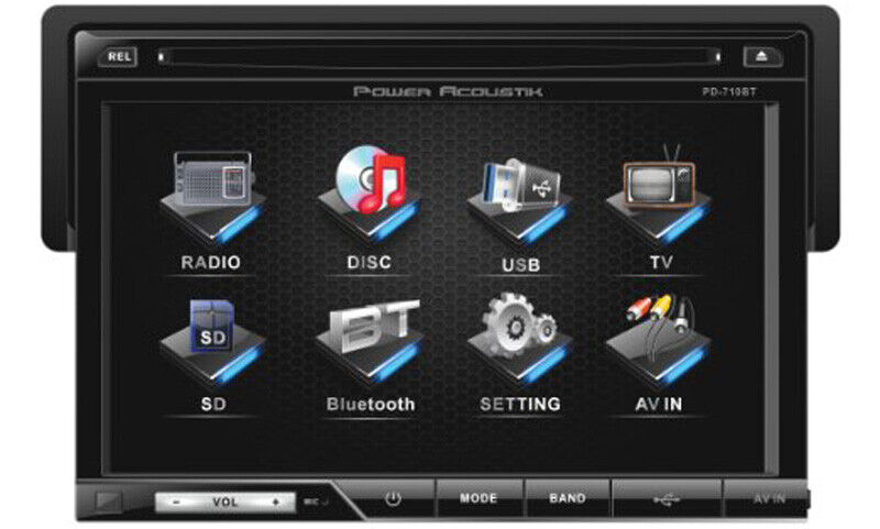 """POWER ACOUSTIK PD-710B SINGLE DIN STEREO WITH 7"""" TOUCHSCREEN LCD USB & BLUETOOTH"""